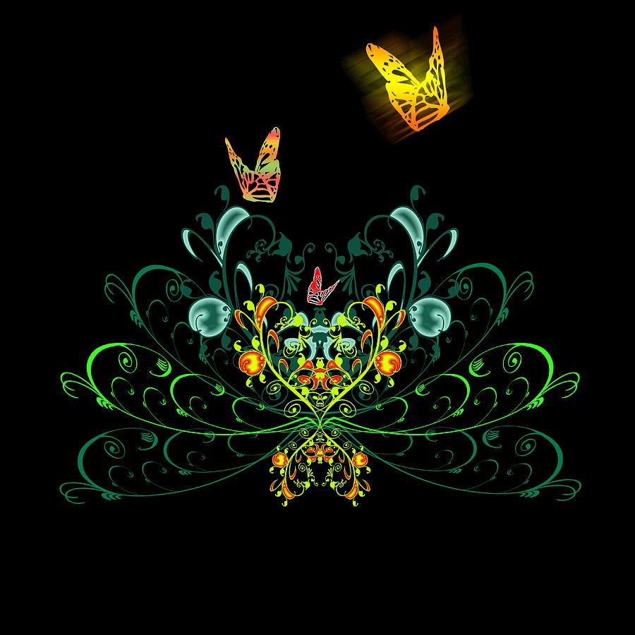 Flower Digital Art - Orange Butterflies by Svetlana Sewell