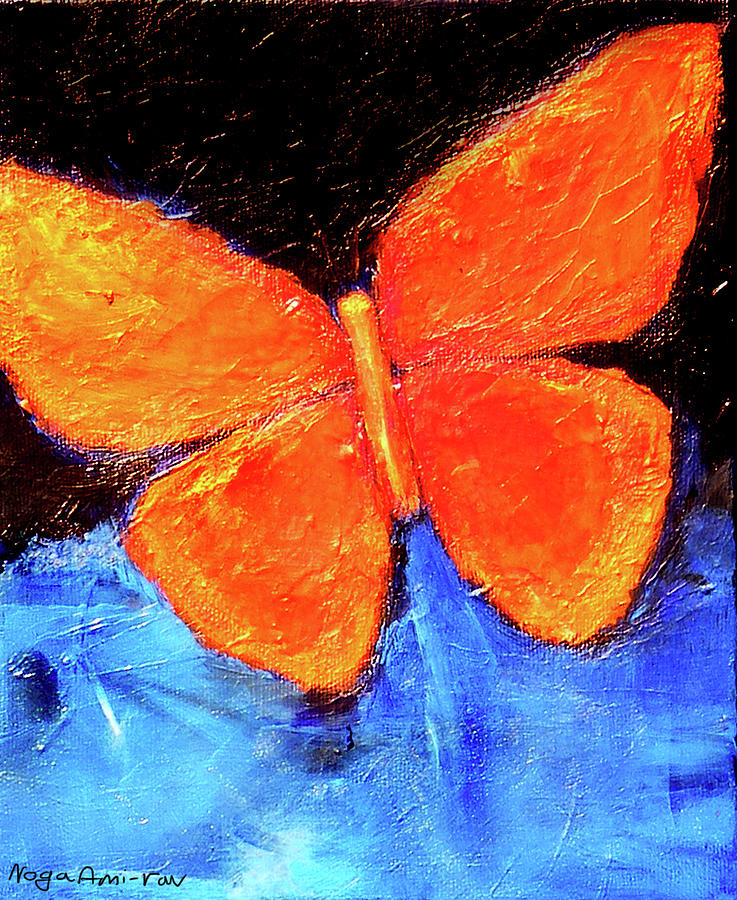 Butterfly Painting - Orange Butterfly by Noga Ami-rav