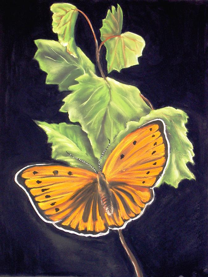 Orange Butterfly6 Painting by Dick Stolp