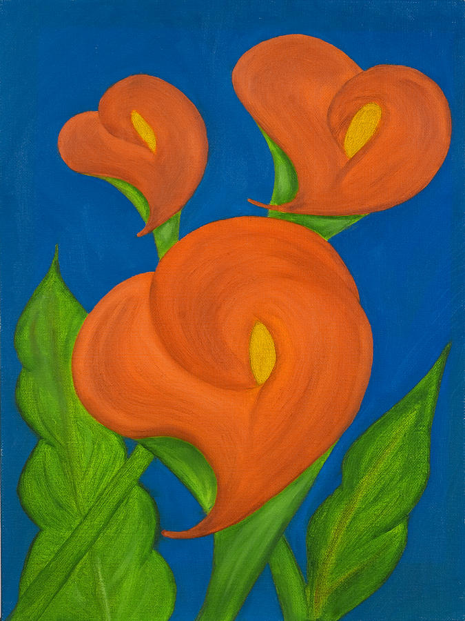 Bold Colors Painting - Orange Calla Lilies by Lourdes Carlos