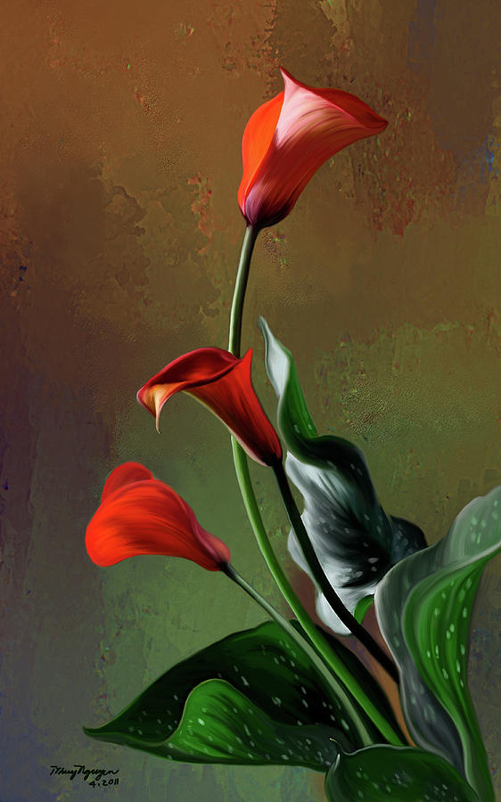 Calla Lily Digital Art - Orange Calla Lily by Thanh Thuy Nguyen