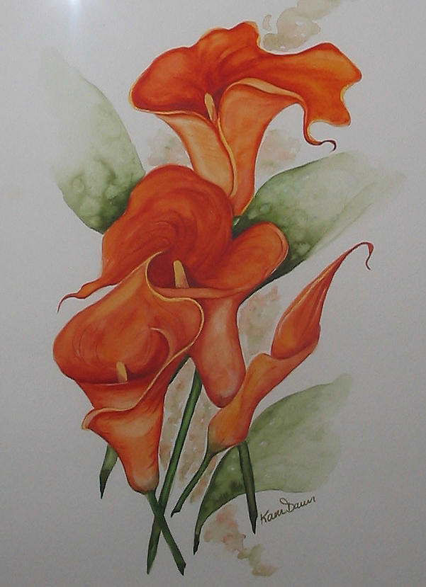 Orange Callas Painting by Karin  Dawn Kelshall- Best