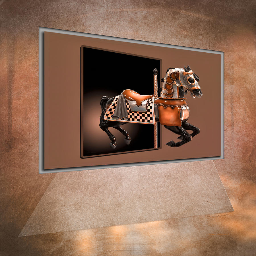 Horse Mixed Media - Orange Carousel Horse Left Panel 02 Textured by Thomas Woolworth
