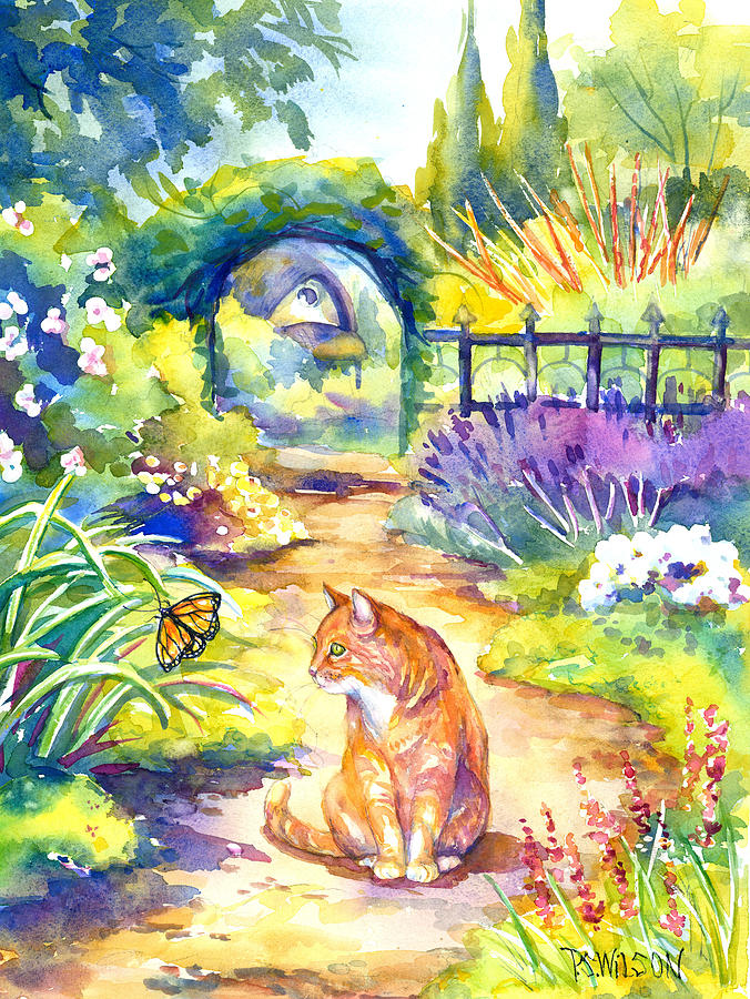 Cat Painting - Orange Cat In The Garden by Peggy Wilson
