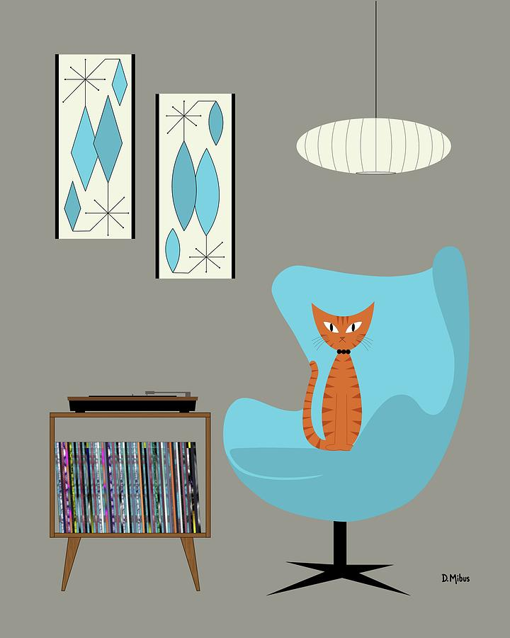Orange Cat In Turquoise Egg Chair Digital Art By Donna Mibus