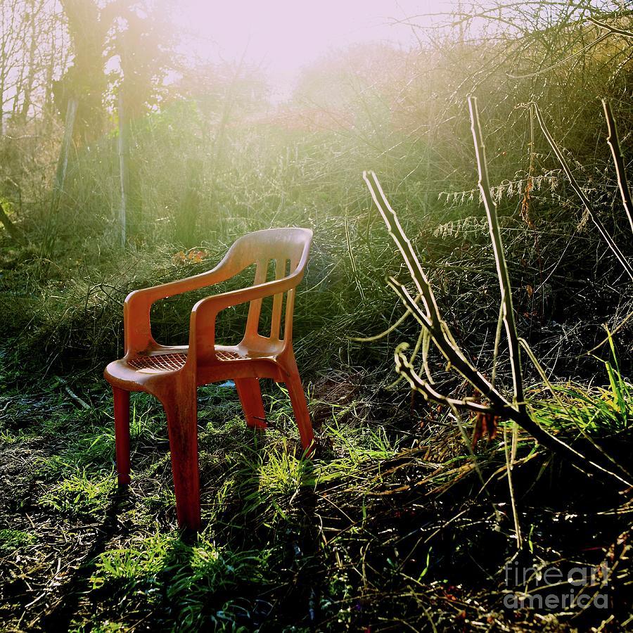 Abandoned Photograph - Orange Chair by Bernard Jaubert