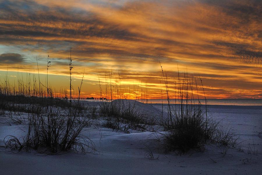 Palm Digital Art - Orange Clouded Sunrise Over The Pier by Michael Thomas