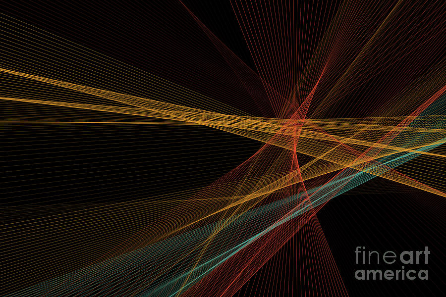 Abstract Digital Art - Orange Computer Graphic Line Pattern by Frank Ramspott