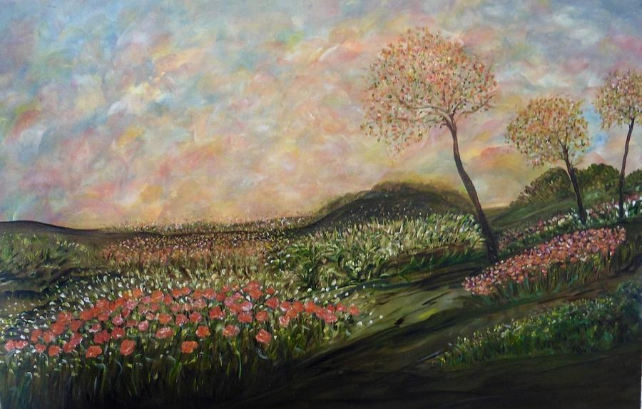 Impressionistic Landscape Painting - Orange Crush by Sara Credito