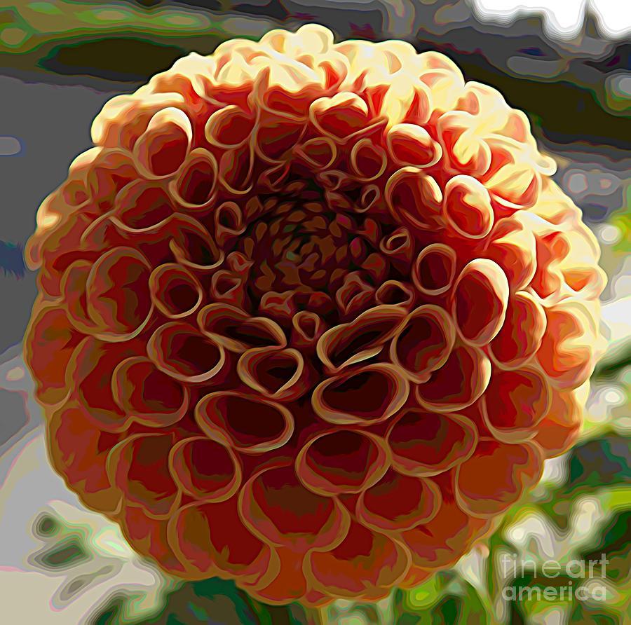 Orange Dahlia Flower Melting Colors Effect Mixed Media By Rose