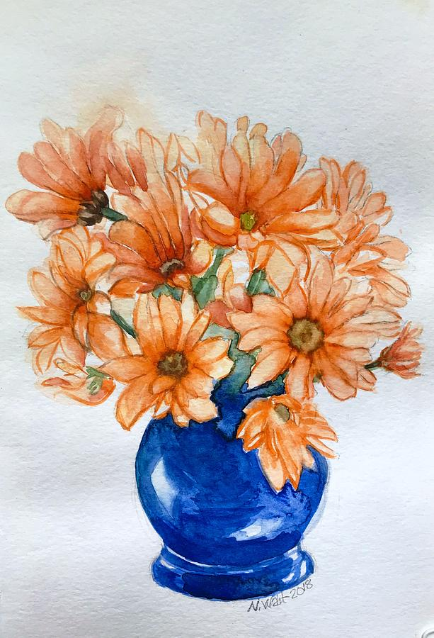 Orange Daisies B by Nancy Wait