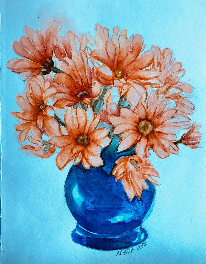 Orange Daisies Blue Background by Nancy Wait