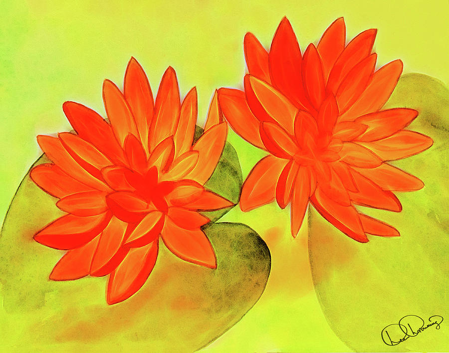 Painting Painting - Orange Waterlily Watercolor Painting by Dee Browning
