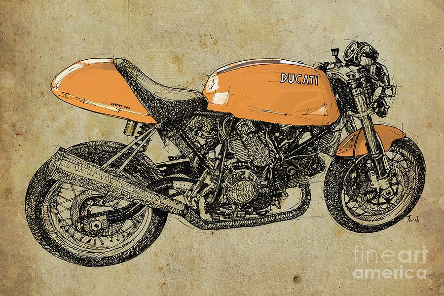 Orange Ducati Original Handmade Drawing Drawing By Drawspots
