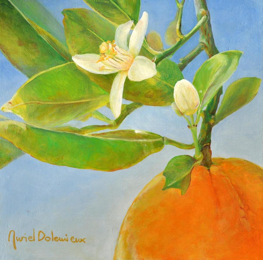Flowers Painting - Orange en Coin by Muriel Dolemieux