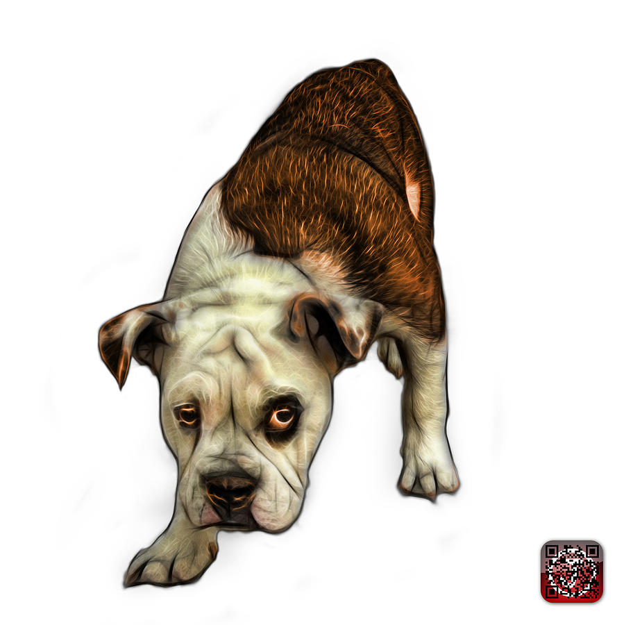Orange English Bulldog Dog Art - 1368 - WB by James Ahn