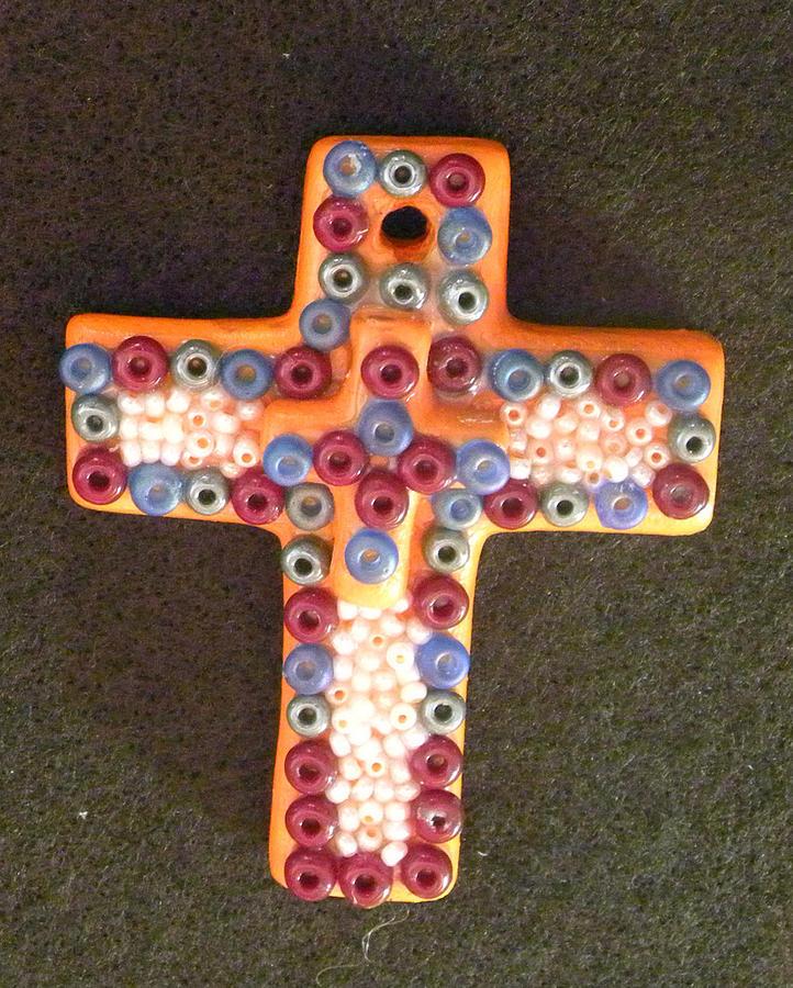 R Mixed Media - Orange Fantasy Cross by Arlene Barrios
