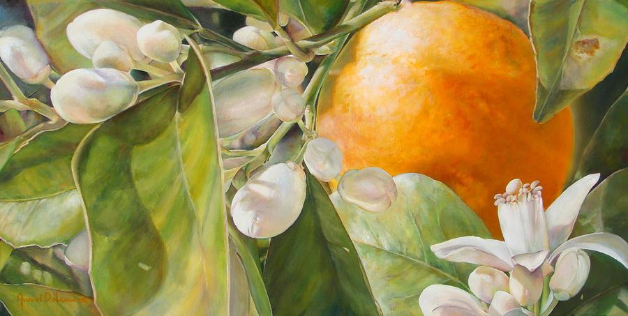 Fruit Painting - Orange fleurie by Dolemieux