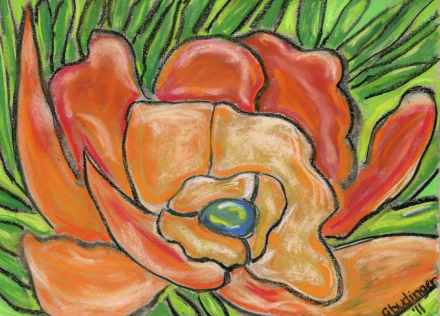 Flower Pastel - Orange Flower by Gail Budinger
