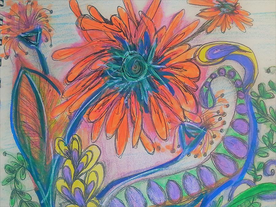 Orange Flowers Drawing by Jan Pellizzer