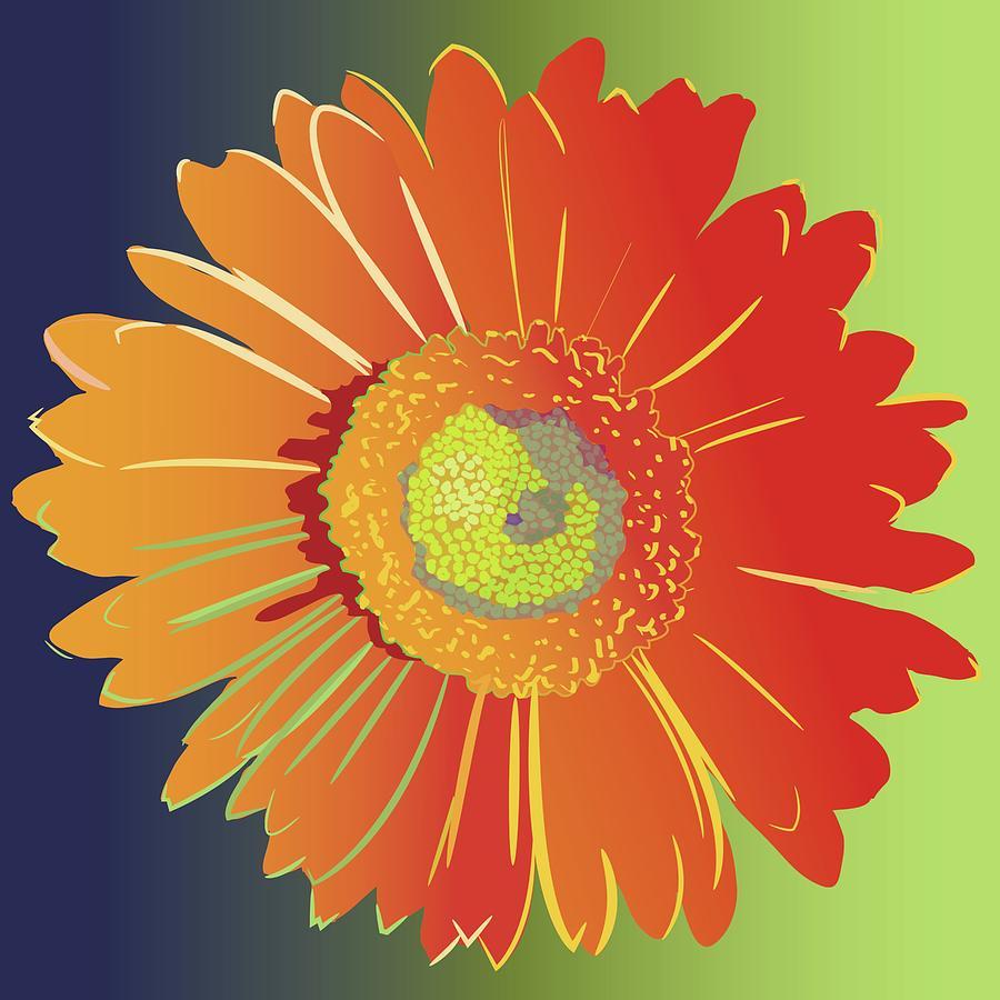 Flower Painting - Orange Gerbera Daisy by Marian Federspiel