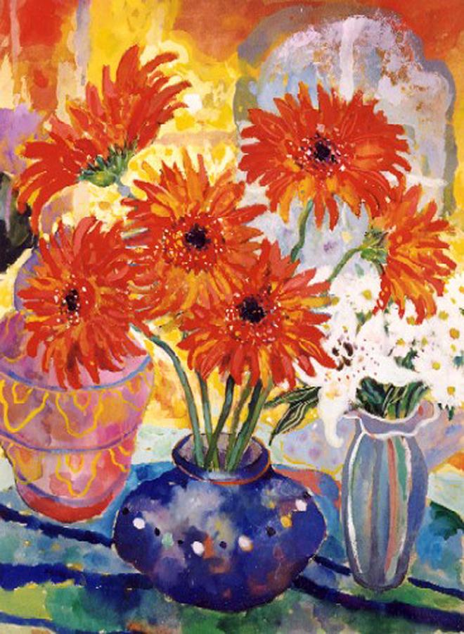 Modern British Painting - Orange Gerbera by Lorraine Platt