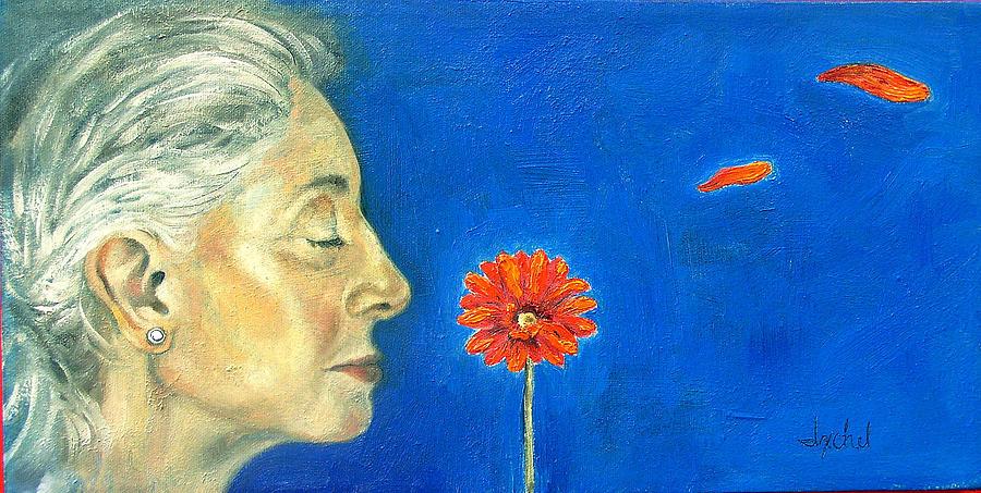 Flower Painting - Orange gerbera on cobalt by Ixchel Amor