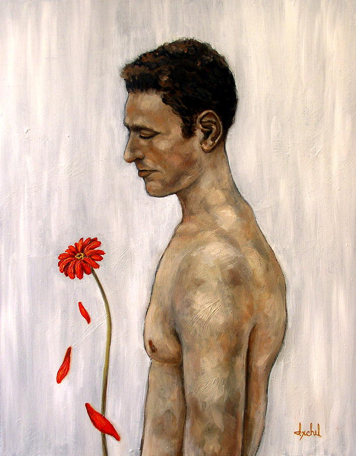 Man Painting - Orange Gerbera On White by Ixchel Amor