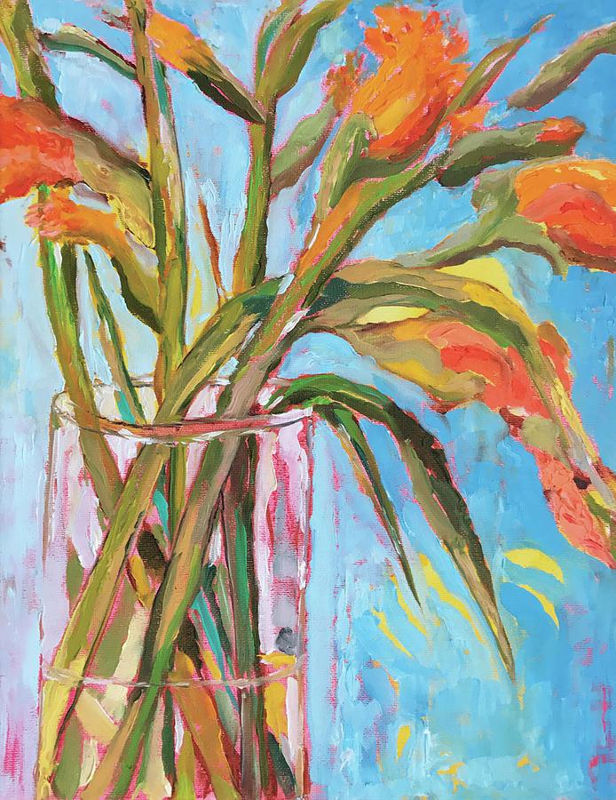 Still Life Painting - Orange Gladiolus In Vase by Tai Yee