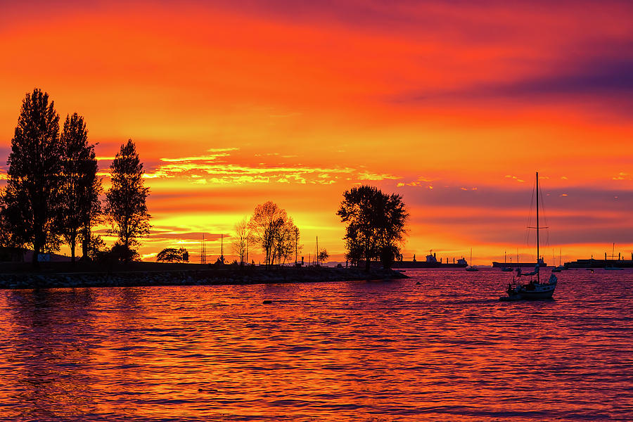 Sunset Photograph - Orange Glow Sunset at Sunset Beach in Vancouver BC by David Gn