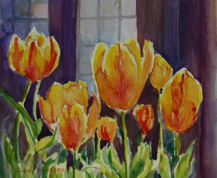 Tulips Painting - Orange Glow Tulips by Sukey Watson
