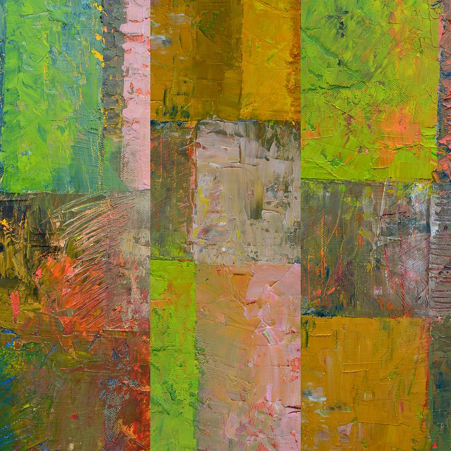 Abstract Painting - Orange Green And Grey by Michelle Calkins