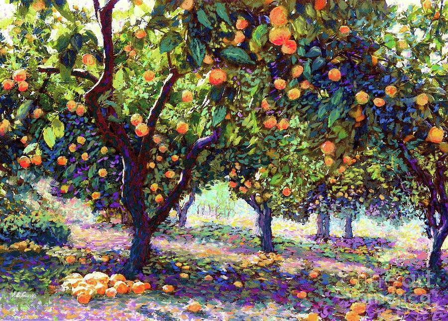 Landscape Painting -  Orange Grove of Citrus Fruit Trees by Jane Small