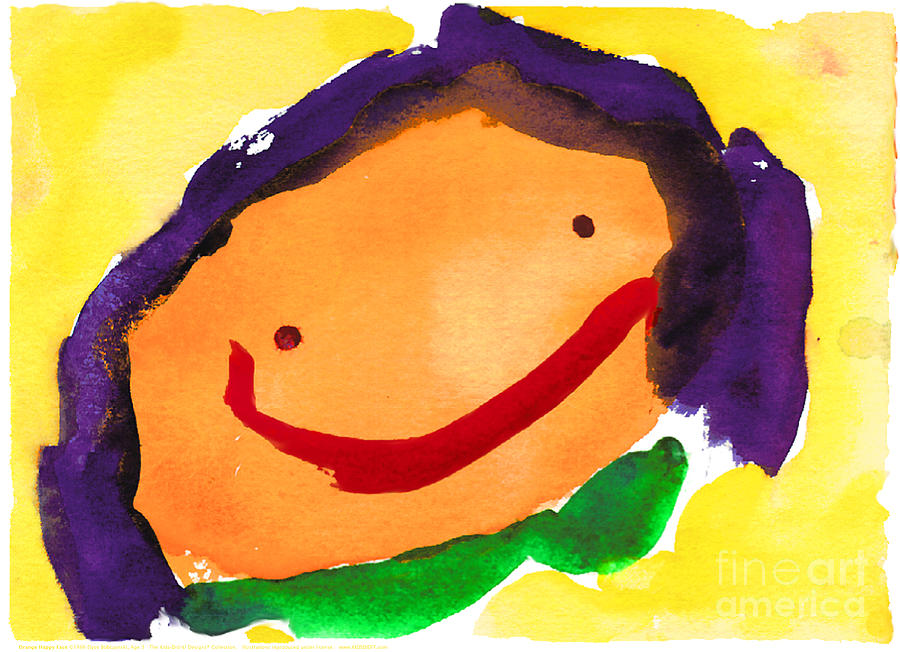 Orange Happy Face by Elyse Bobczynski Age Three