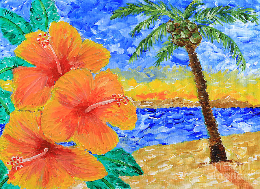 Tropical Paradise Painting - Orange Hibiscus Coconut Tree Sunrise Tropical Beach Painting by Beverly Claire Kaiya