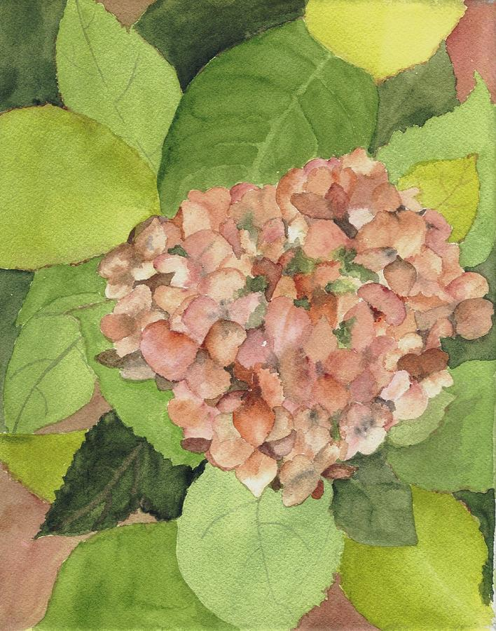 Floral Painting - Orange Hydrangea by Peggy Bergey