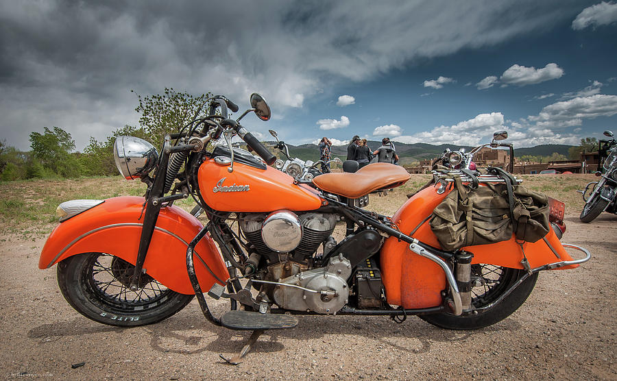 Orange Indian Motorcycle by Britt Runyon