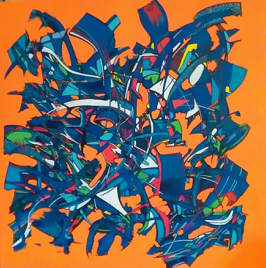Abstract Painting - Orange Is The New Black by Philippe Viader