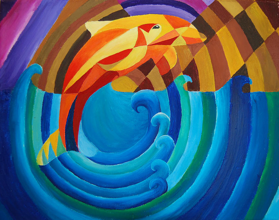 Dolphin Painting - Orange Joy by Esther King