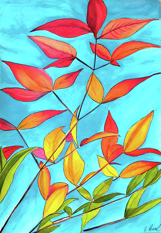 Leaves Painting - Orange Leaves by Sacha Grossel