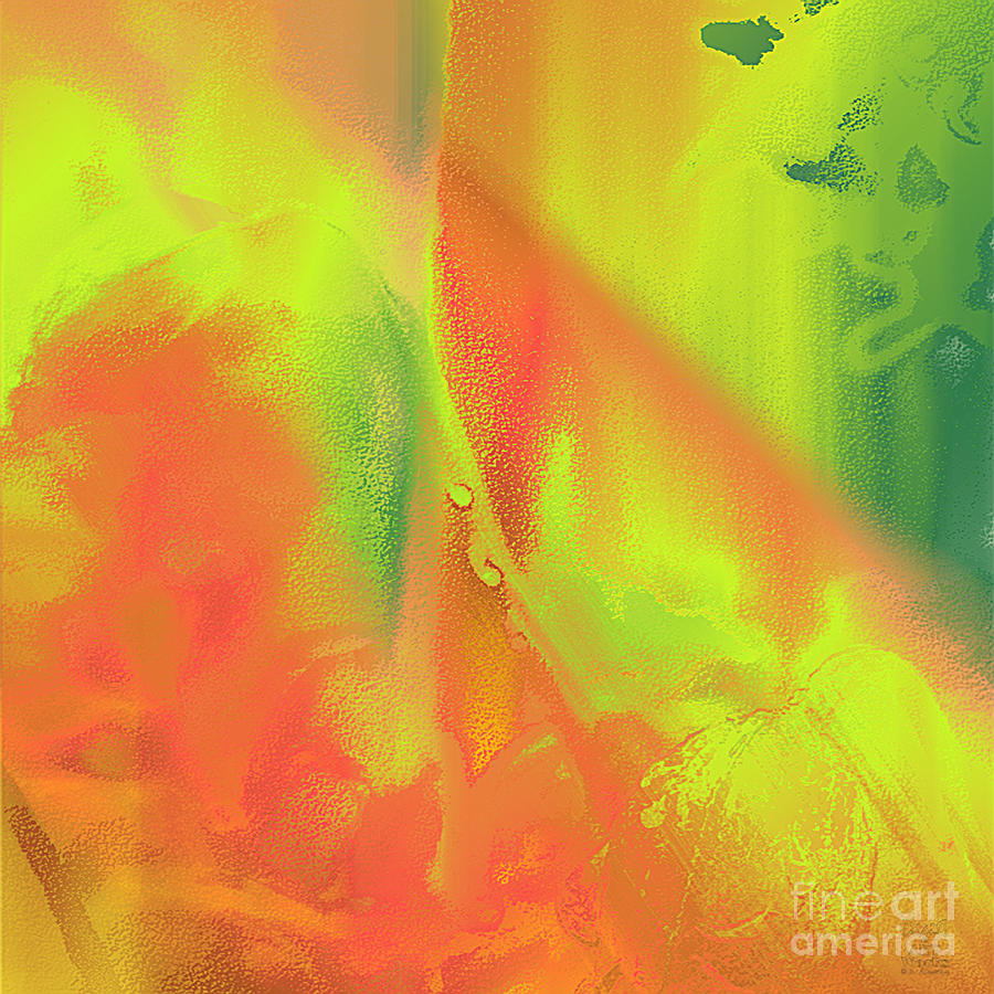 Orange Lime Green Abstract Digital Art by Dee Flouton