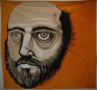 Orange Man 1 5x7feet Painting by Meat-Jeffery Paul Gadbois