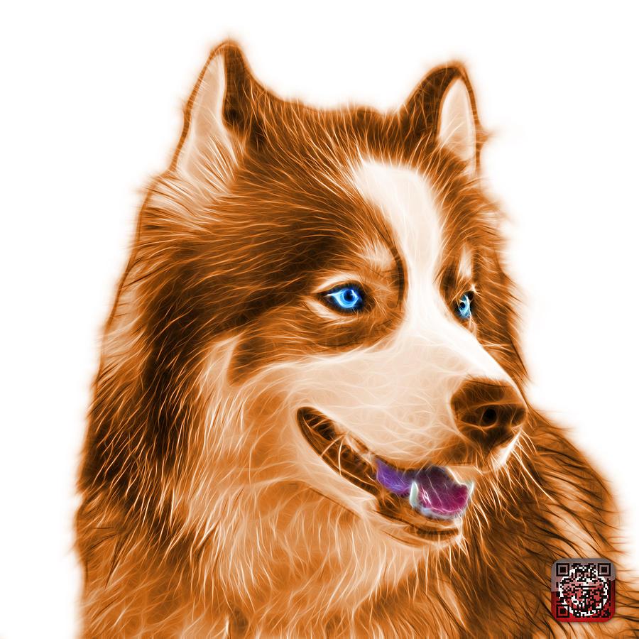 Orange Modern Siberian Husky Dog Art 6024 Wb Painting By James Ahn