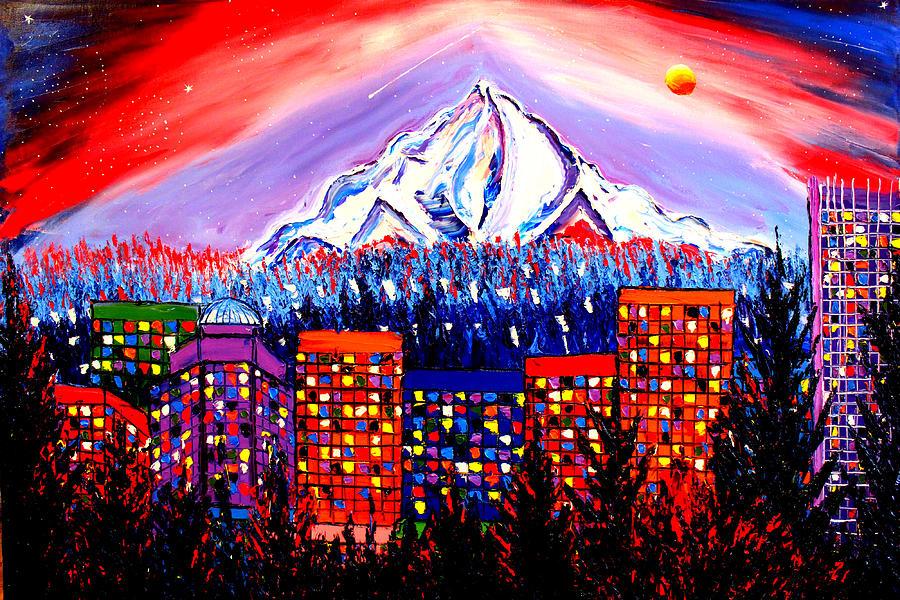 Orange Moon Over Mount Hood #1 Painting by Dunbars Modern Art