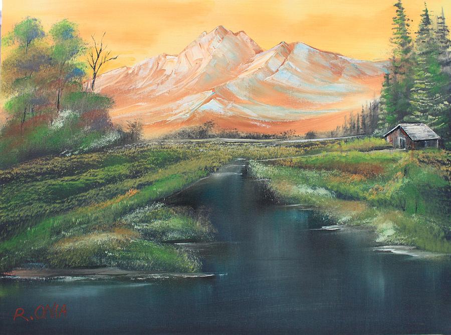 Landscape Painting - Orange Mountain by Remegio Onia