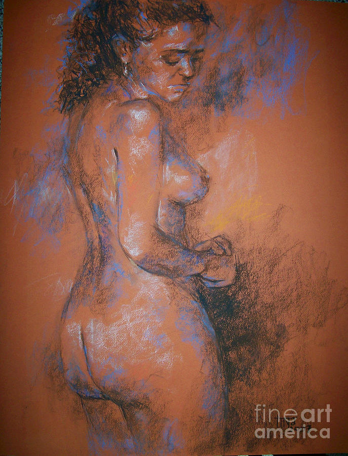 Figurative Painting - Orange Nude by Tina Siddiqui