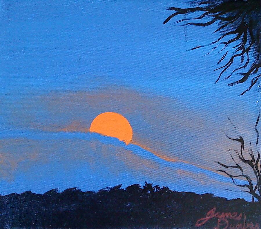 Orange Of Blue Mist Sunset Painting by Portland Art Creations