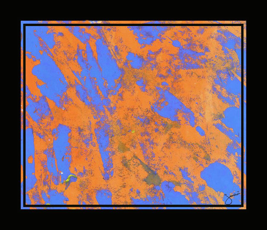 Orange On Blue Painting by JOnezi