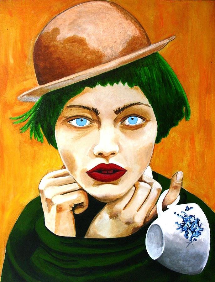 Female Painting - Orange Peel Cupcake by Jacqui Simpson