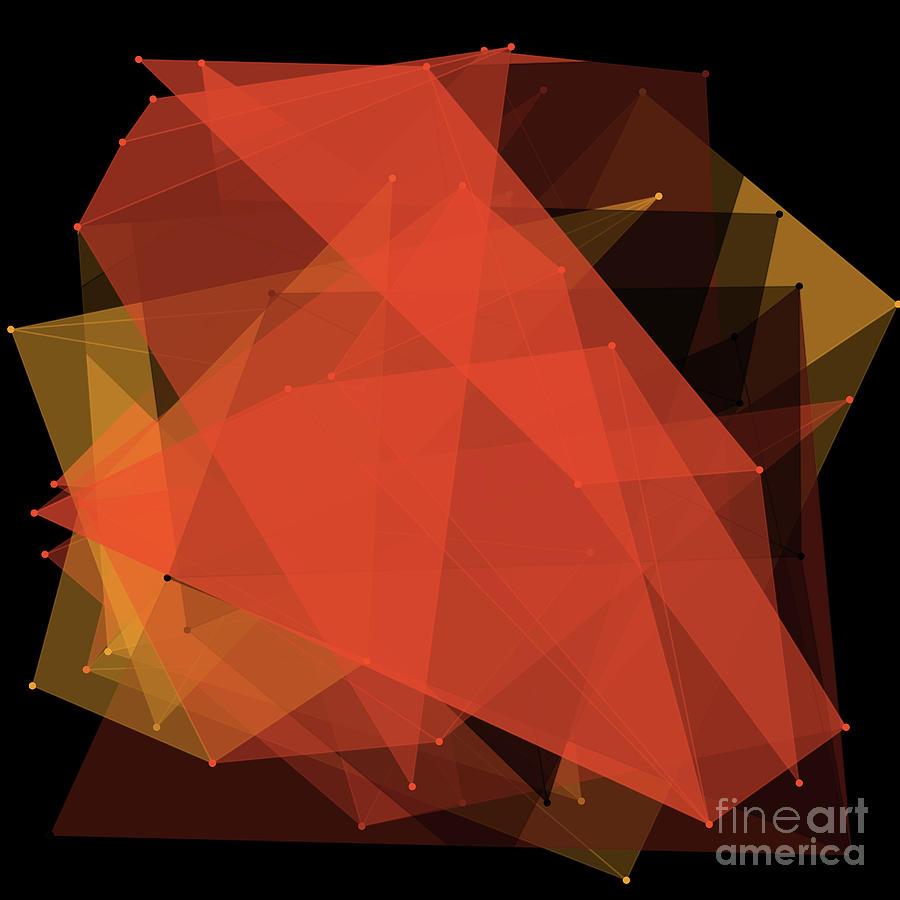 Abstract Digital Art - Orange Polygon Pattern by Frank Ramspott